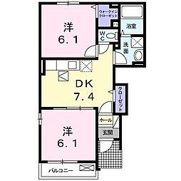 アンスリールA 1階2DKの間取り