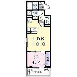 ドミールサワIII 2階1LDKの間取り