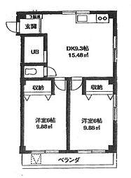 サイドスクエア 3階2DKの間取り