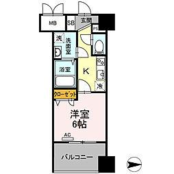 Trio Mare 蔵前(トリオマーレクラマエ) 8階1Kの間取り