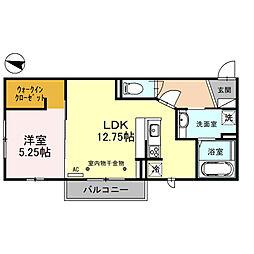 アスティ 2階1LDKの間取り