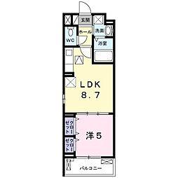 ルーミナス京田辺 1階1DKの間取り