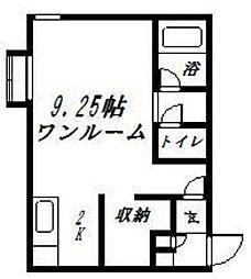 コットンハウス22 2階ワンルームの間取り