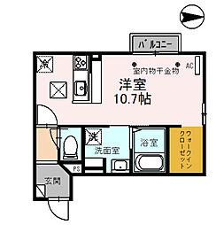ロワゾブルー 1階ワンルームの間取り