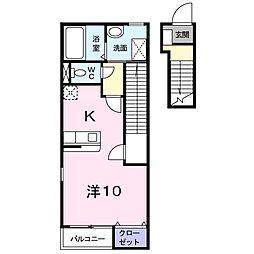 Gracevilla II 2階1Kの間取り