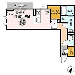 (仮)おおたかの森北1丁目PJ 3階ワンルームの間取り