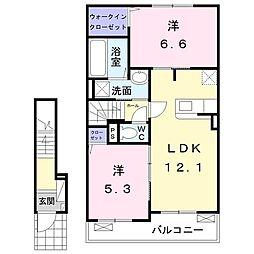 シャルマンコート広沢M 2階2LDKの間取り