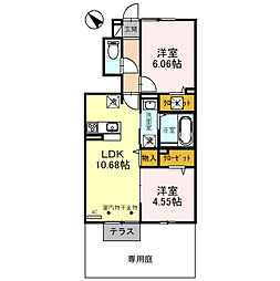 D-roomBrlliant(ディールームブリリアント) 1階2LDKの間取り