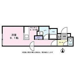 札幌市営南北線 平岸駅 徒歩6分の賃貸マンション 2階1Kの間取り