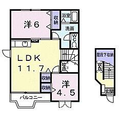 ソルフィー D 2階2LDKの間取り