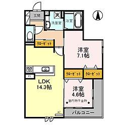 北大阪急行電鉄 桃山台駅 バス12分 阪急バス 熊野町西下車 徒歩3分の賃貸アパート 3階2LDKの間取り