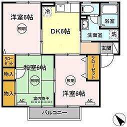 エトワール増田 2階3DKの間取り