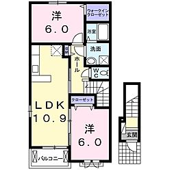エムテンダー 2階2LDKの間取り
