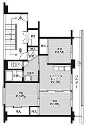 ビレッジハウス小名浜1号棟 4階2LDKの間取り