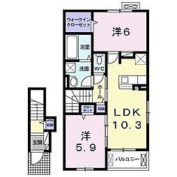 トワニー 2階2LDKの間取り