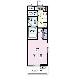 クラール上福岡 3階1Kの間取り