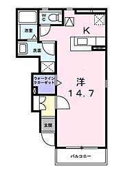 神戸市西神・山手線 伊川谷駅 バス9分 新末田橋下車 徒歩3分の賃貸アパート 1階1Kの間取り