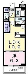 プロムナードIV 2階1LDKの間取り