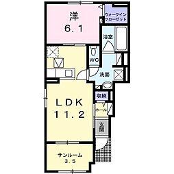 エクセレント・ヴィラ富田A 1階1LDKの間取り