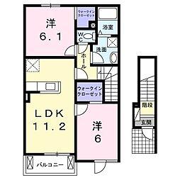 ラメールB 2階2LDKの間取り
