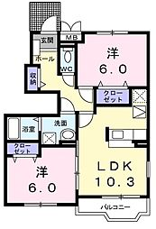 メゾンジェルメ 1階2LDKの間取り