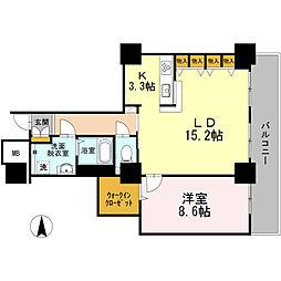 品川シーサイドビュータワー I 11階1LDKの間取り