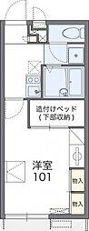 レオパレスHIGASHINOII 2階1Kの間取り