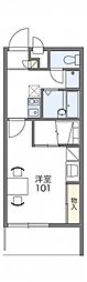 レオパレスTakashima 3階1Kの間取り