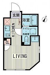 ブラン渋谷本町 2階ワンルームの間取り