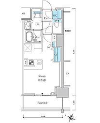 ロイヤルパークスER万代 7階ワンルームの間取り