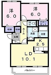 ソレアード石川 2階2LDKの間取り