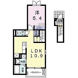 駒生町アパート(024142401) 2階1LDKの間取り