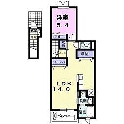 ボニート I 2階1LDKの間取り