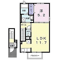 ウメミツハウス2 2階1LDKの間取り