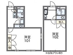 レオパレス愛松 3階1Kの間取り