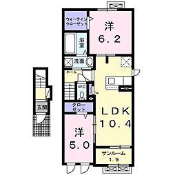 蟹沢アパートB 2階2LDKの間取り