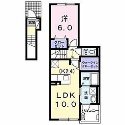 ボンヌーベル・M 2階1LDKの間取り
