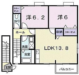 コモド・カーサ A 2階3DKの間取り