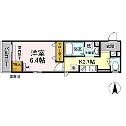 湘南新宿ライン宇須 新川崎駅 徒歩16分の賃貸アパート 2階1Kの間取り