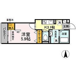 湘南新宿ライン宇須 新川崎駅 徒歩16分の賃貸アパート 3階1Kの間取り