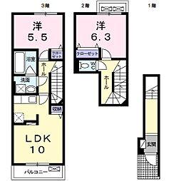 ブライトII 2階2LDKの間取り