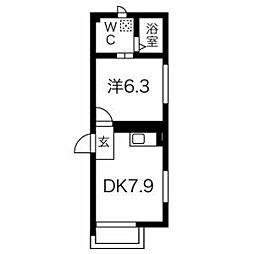 京王井の頭線 神泉駅 徒歩2分の賃貸マンション 地下1階1DKの間取り