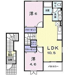 仙台市地下鉄東西線 連坊駅 徒歩13分の賃貸アパート 2階2LDKの間取り