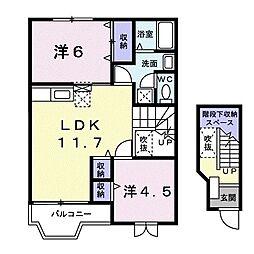 エヴァグリーン 2階2LDKの間取り
