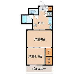 ロイヤルコート安田 1階2DKの間取り