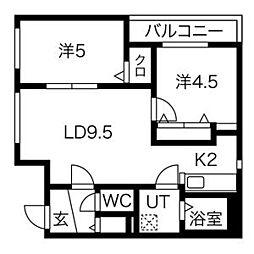 ラ・コーザ北円山 3階2LDKの間取り