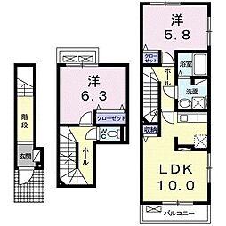 ベアーレ II 2階2LDKの間取り