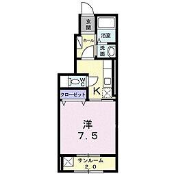 ドゥー・メゾン・ラフィネ 1階1Kの間取り