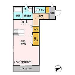 JR東北本線 東大宮駅 徒歩11分の賃貸アパート 3階ワンルームの間取り