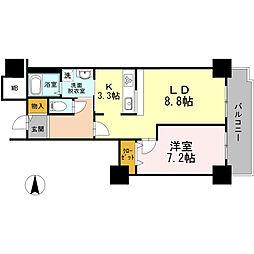 品川シーサイドビュータワー I 15階1LDKの間取り